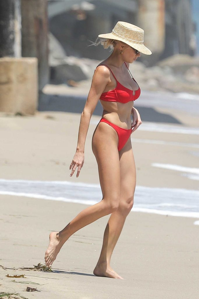 Charlotte McKinney in a Red Bikini on the Beach in Malibu-2