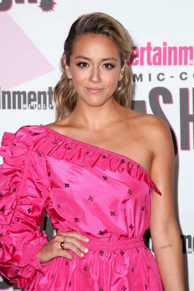 Chloe Bennet in a Short Pink Dress