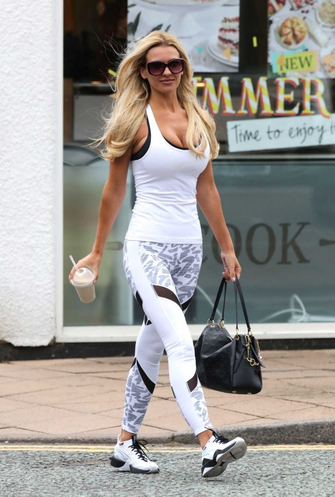 Christine McGuiness in a White Tank Top Out in Cheshire-1