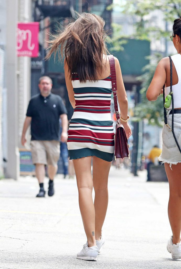 Emily Ratajkowski Wears a Short Striped Dress Out in New York City-6