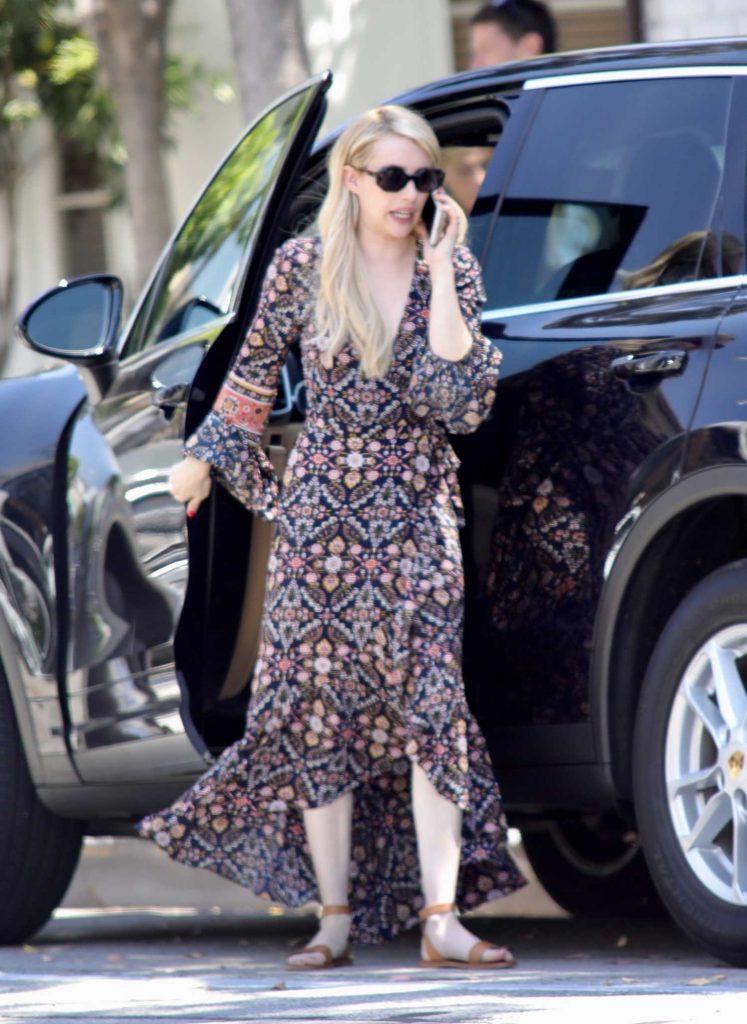 Emma Roberts in a Long Paisley Dress