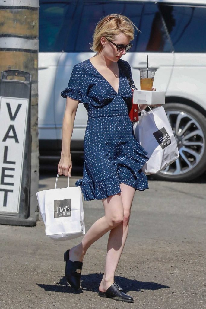 Emma Roberts Wears a Short Blue Dress to Pick up Some Lunch for Home in Los Angeles-4