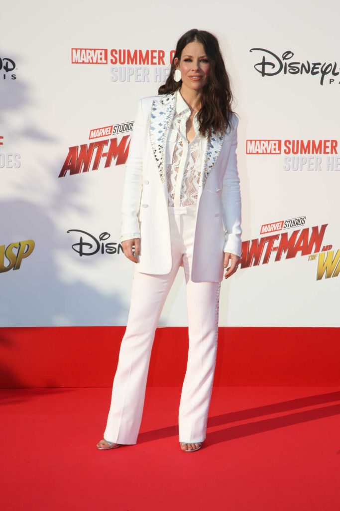 Evangeline Lilly in All White at the Ant-Man and the Wasp Premiere in Marne-la-Vallee-1