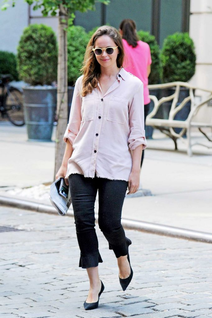Felicity Jones Wears a Pink Shirt Out in New York City-1