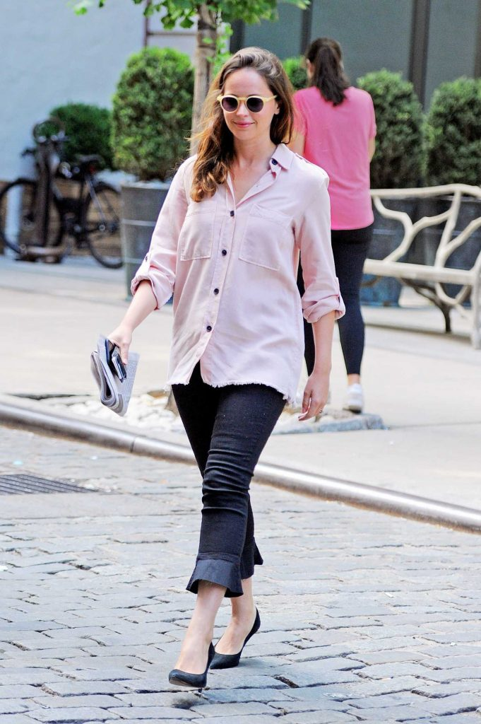 Felicity Jones Wears a Pink Shirt Out in New York City-2