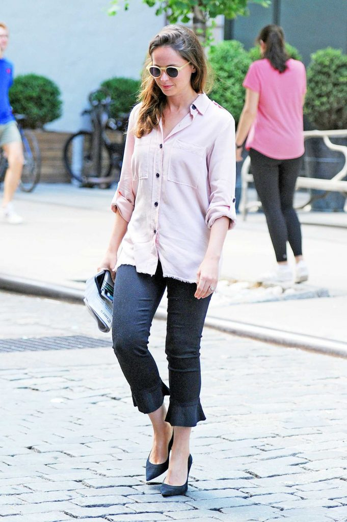 Felicity Jones Wears a Pink Shirt Out in New York City-3