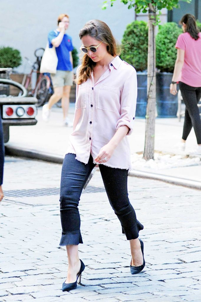 Felicity Jones Wears a Pink Shirt Out in New York City-4