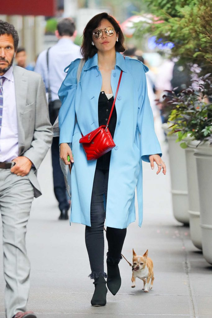 Katharine McPhee in a Blue Trench Coat
