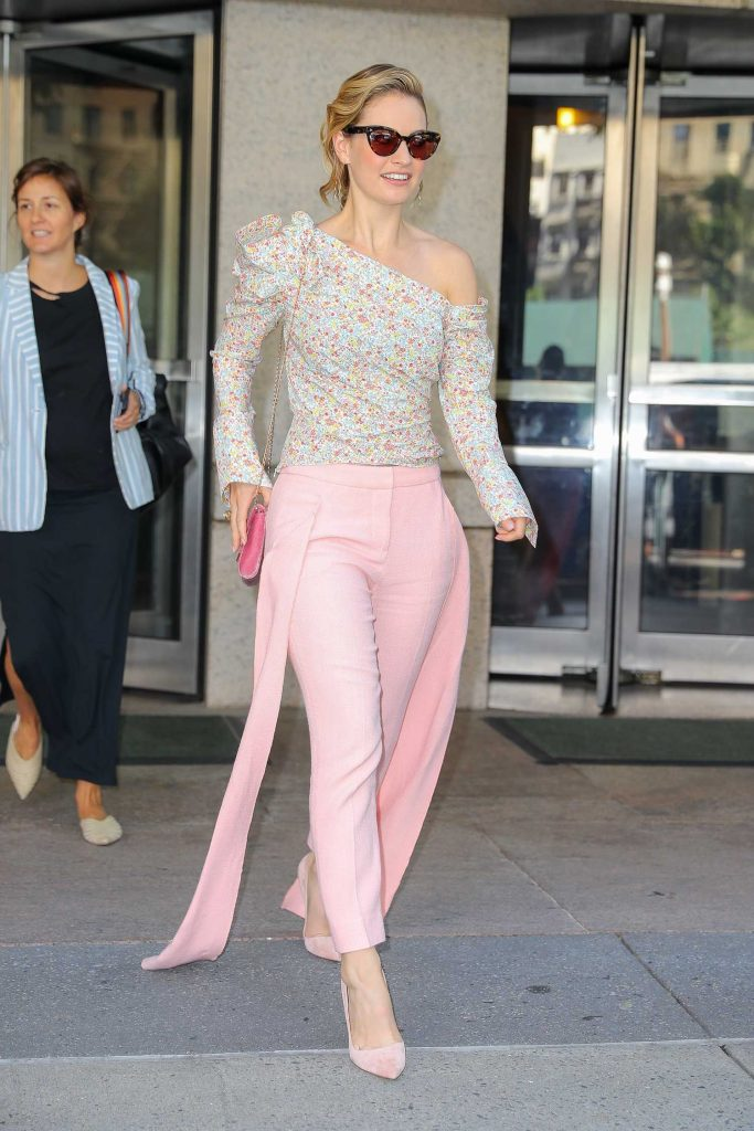 Lily James Wears a Pink Pants as She Leaves the ABC Studios in New York City-1