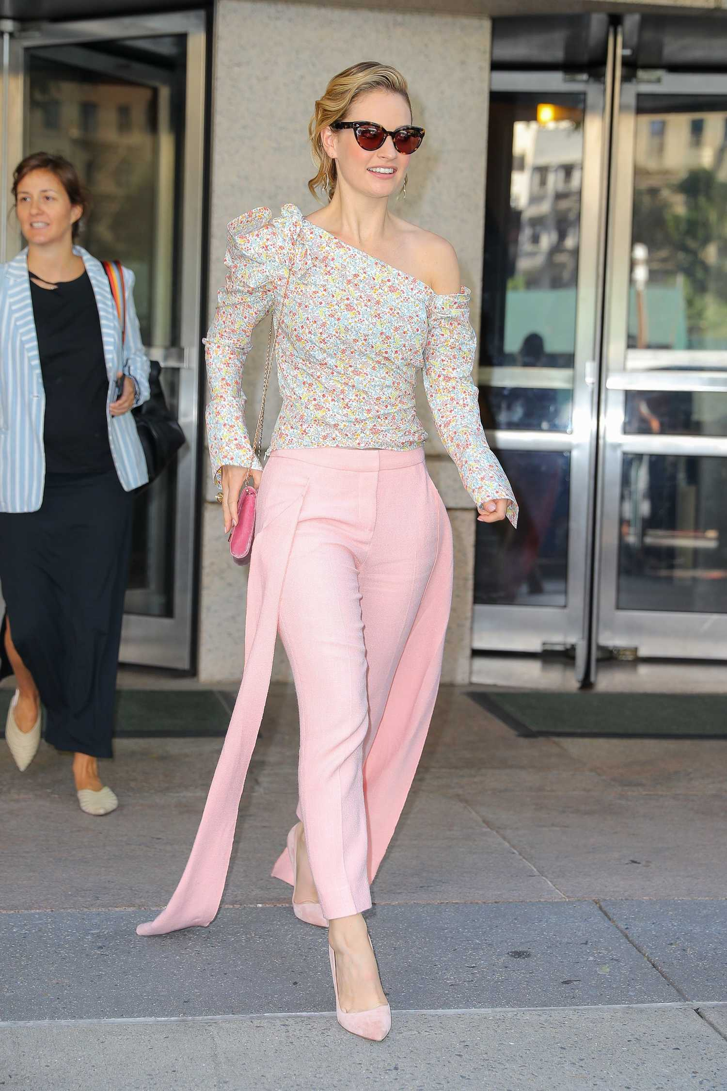 Lily James Wears A Pink Pants As She Leaves The Abc