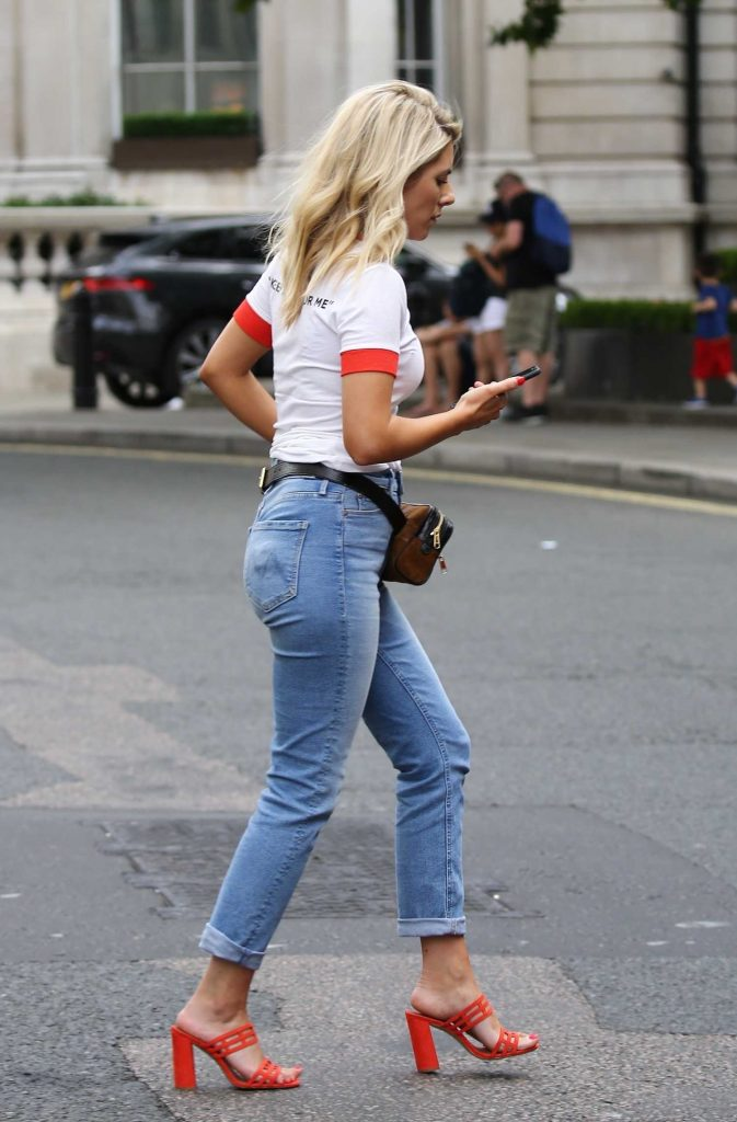 Mollie King Wears a Red Sandals Out in London-1