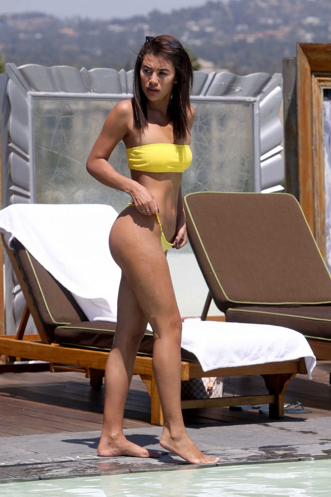 Montana Brown Wears a Yellow Bikini by the Pool in Los Angeles-4