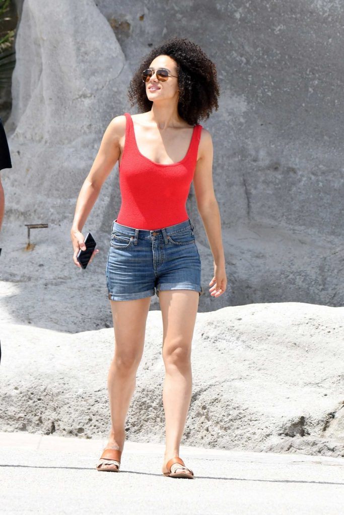 Nathalie Emmanuel in a Red Tank Top