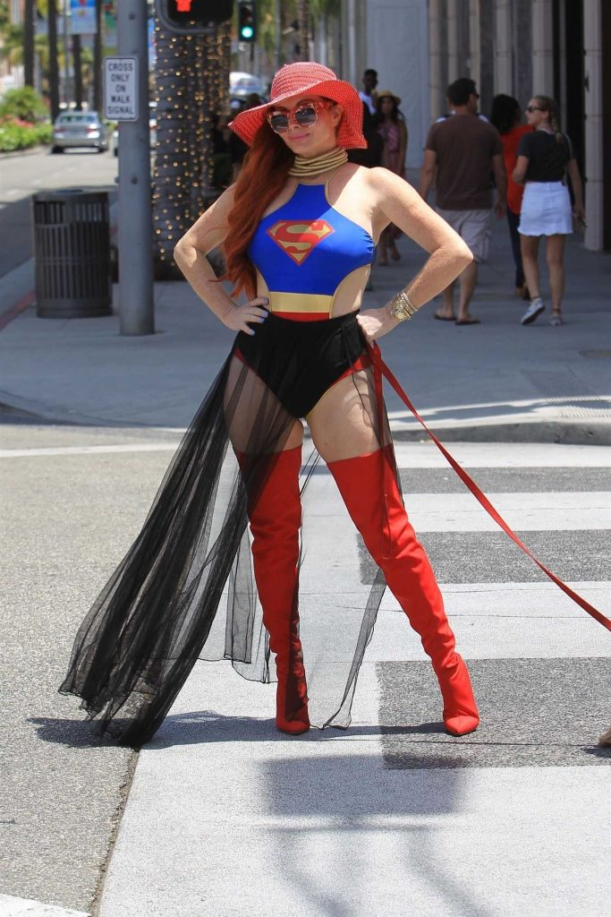 Phoebe Price Poses in a Superwoman Costume in Beverly Hills-1