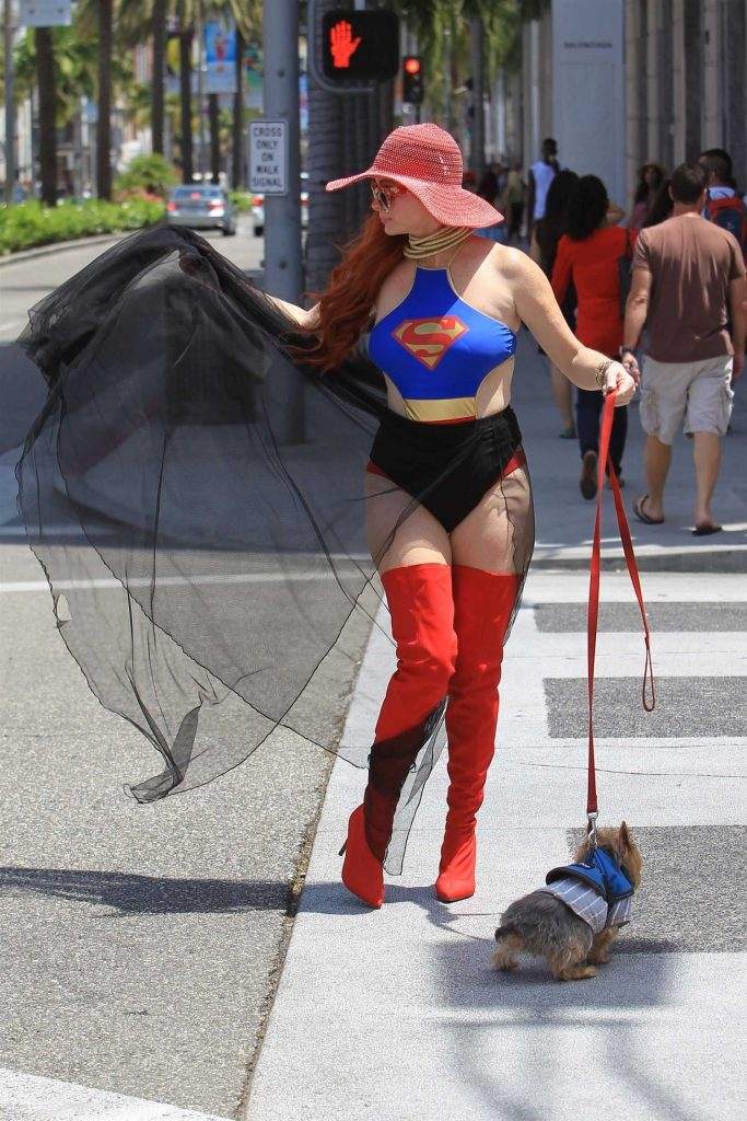 Phoebe Price Poses in a Superwoman Costume in Beverly Hills-3
