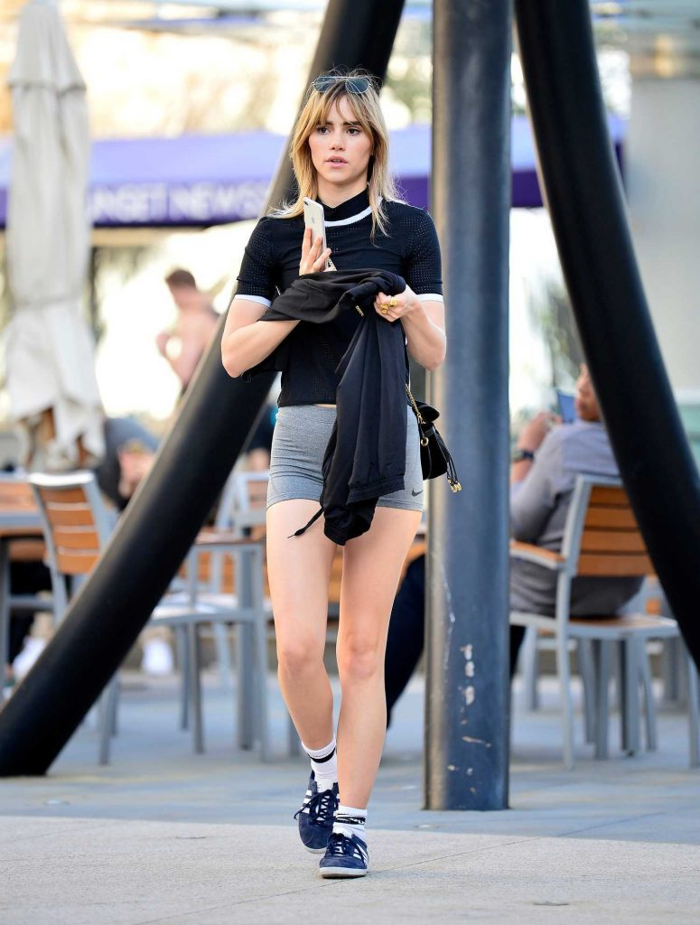 Suki Waterhouse in a Grey Nike Shorts