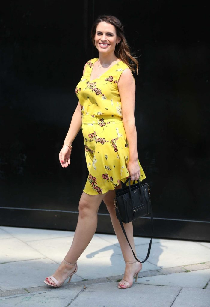 Susie Amy in a Short Yellow Dress