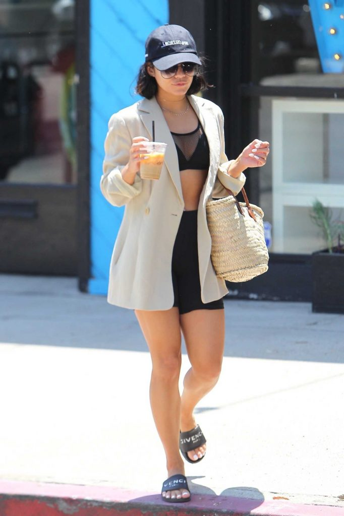 Vanessa Hudgens in a Beige Jacket