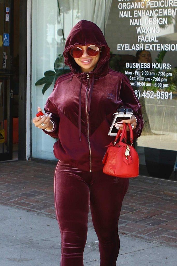 Blac Chyna in a Burgundy Adidas Tracksuit