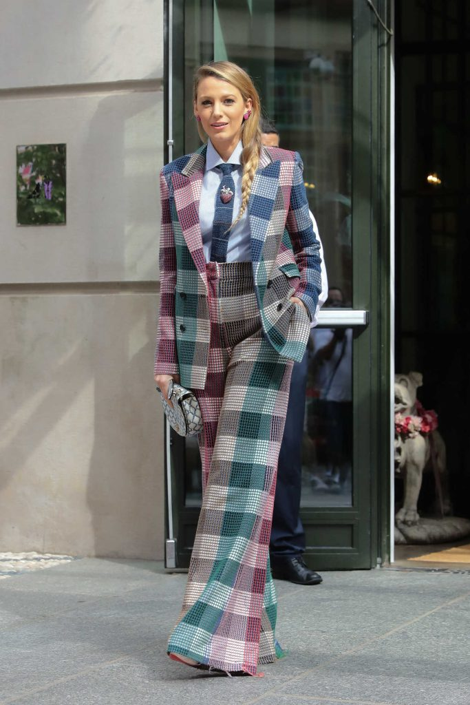 Blake Lively in a Plaid Suit