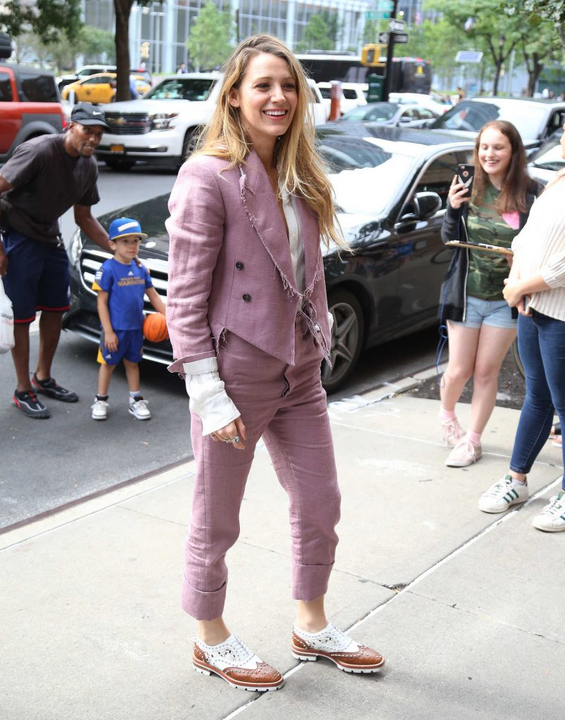 Blake Lively in a Violet Suit