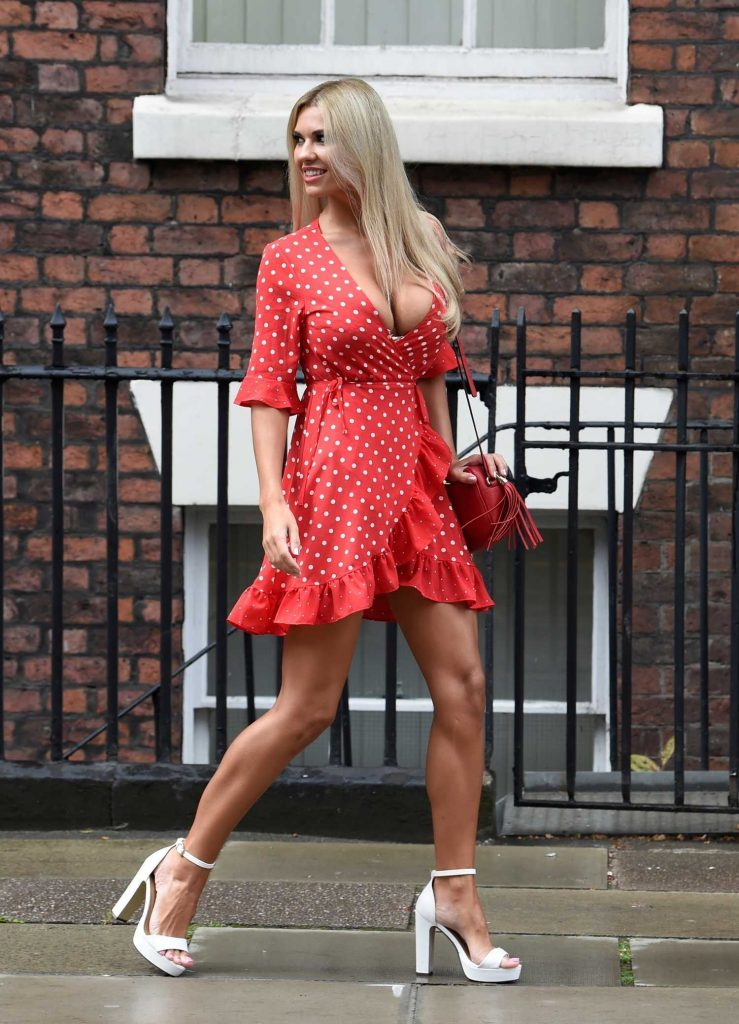 Christine McGuinness in a Red Polka Dot Dress