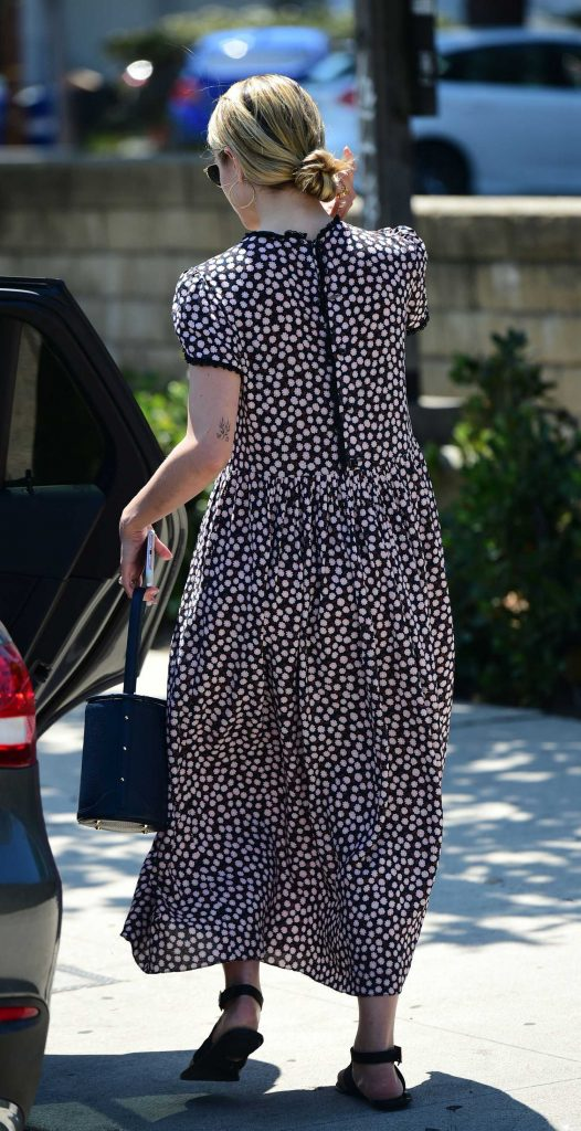 Dianna Agron in a Floral Print Dress