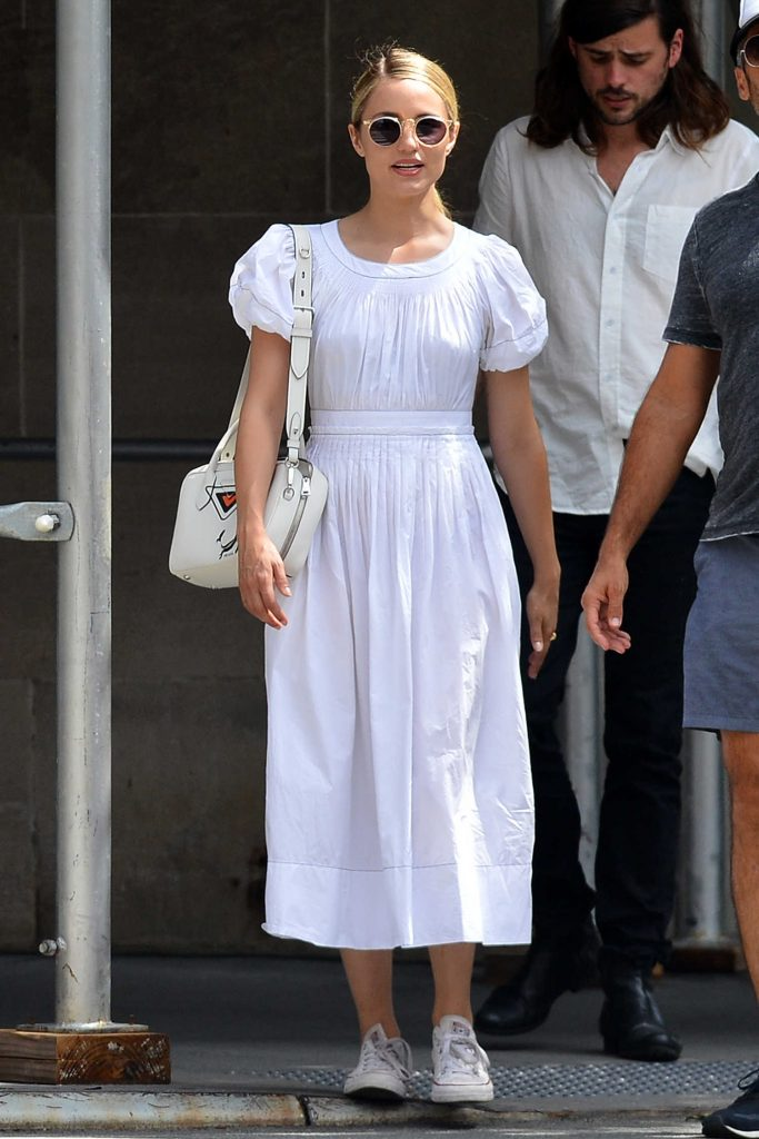 Dianna Agron in a White Dress