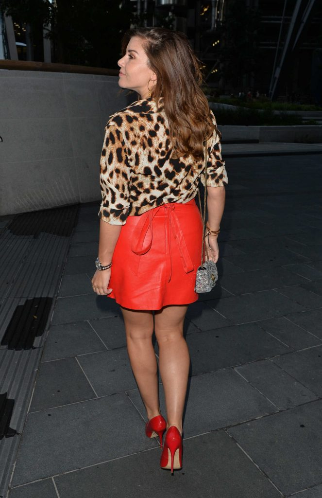 Imogen Thomas in a Red Skirt