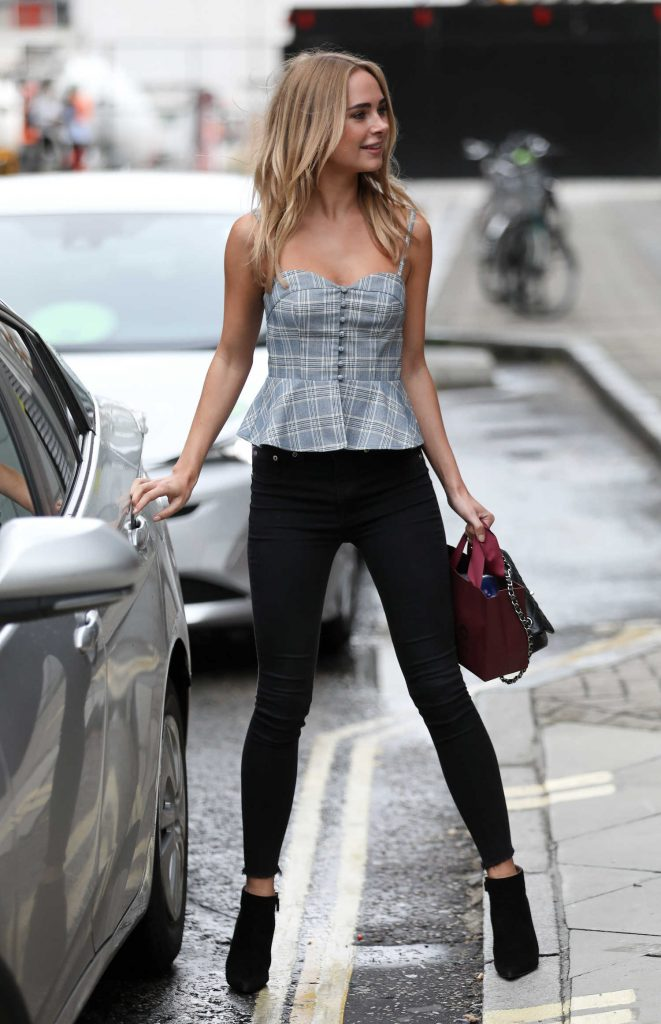 Kimberley Garner in a Plaid Top