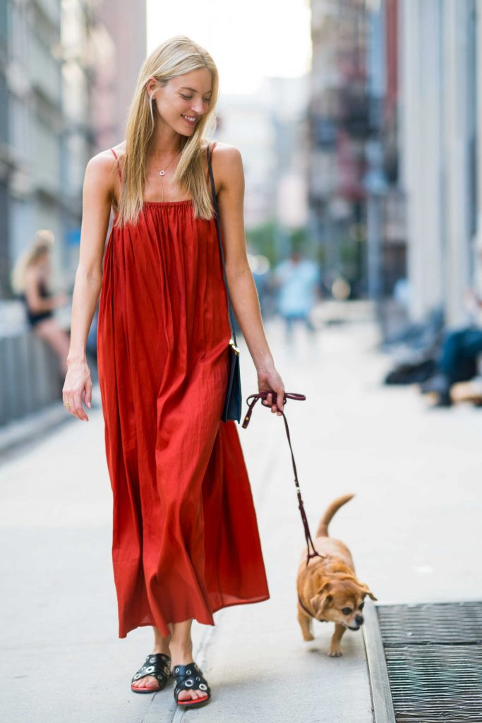 Martha Hunt in a Red Sundress
