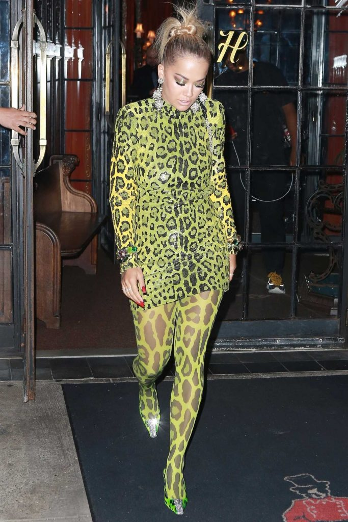 Rita Ora in a Green Snake Print Dress