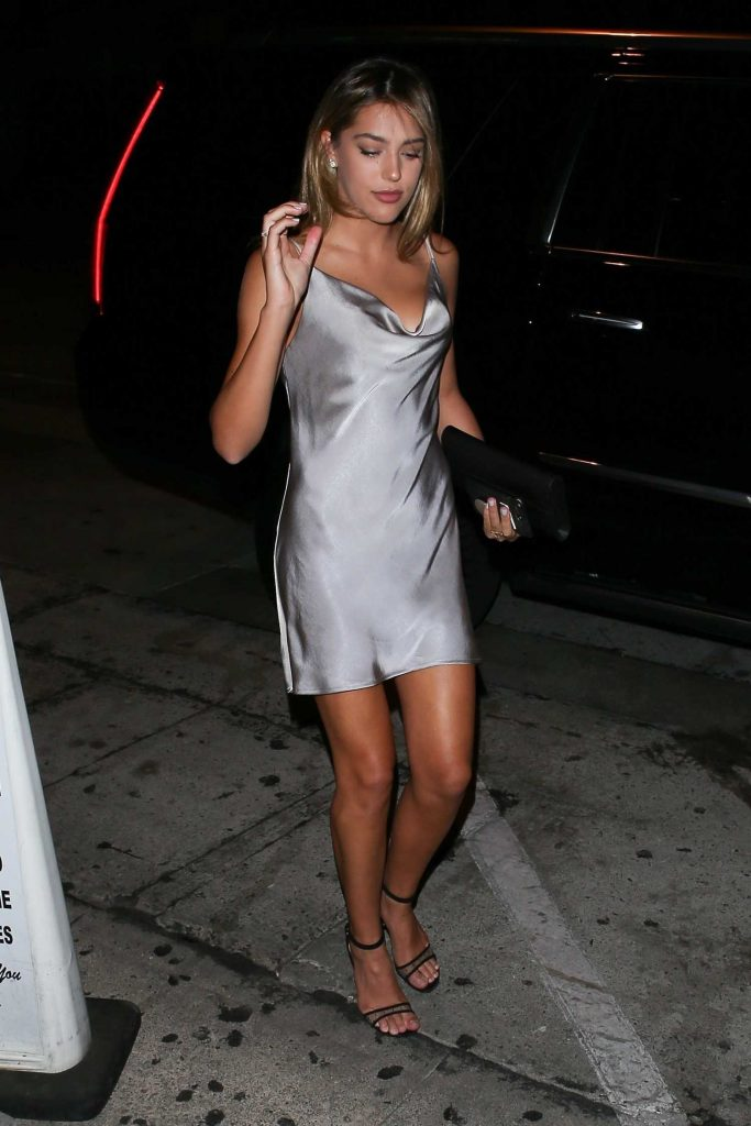 Sistine Stallone in a Short Grey Dress