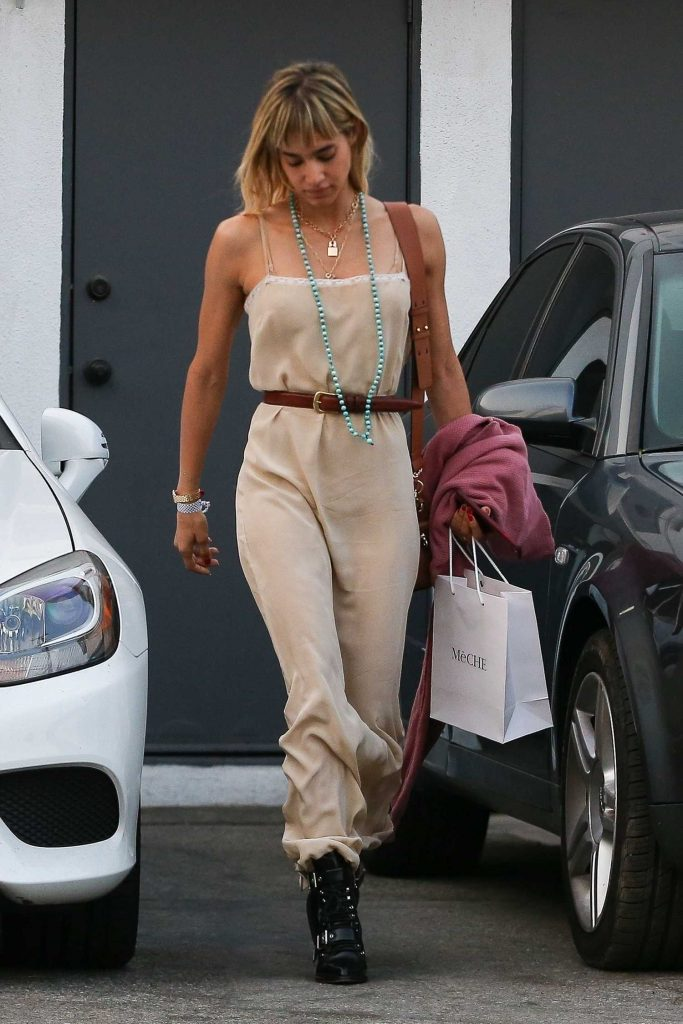 Sofia Boutella in a Beige Sundress