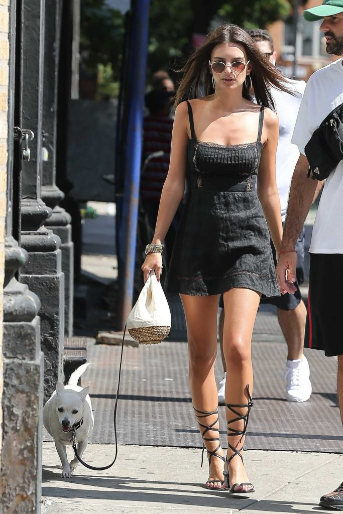 Emily Ratajkowski in a Short Black Dress