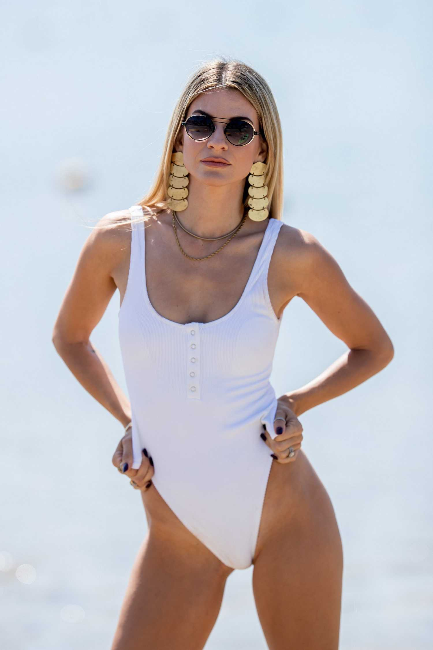 Rachel Mccord In A White Swimsuit On The Beach In Santa