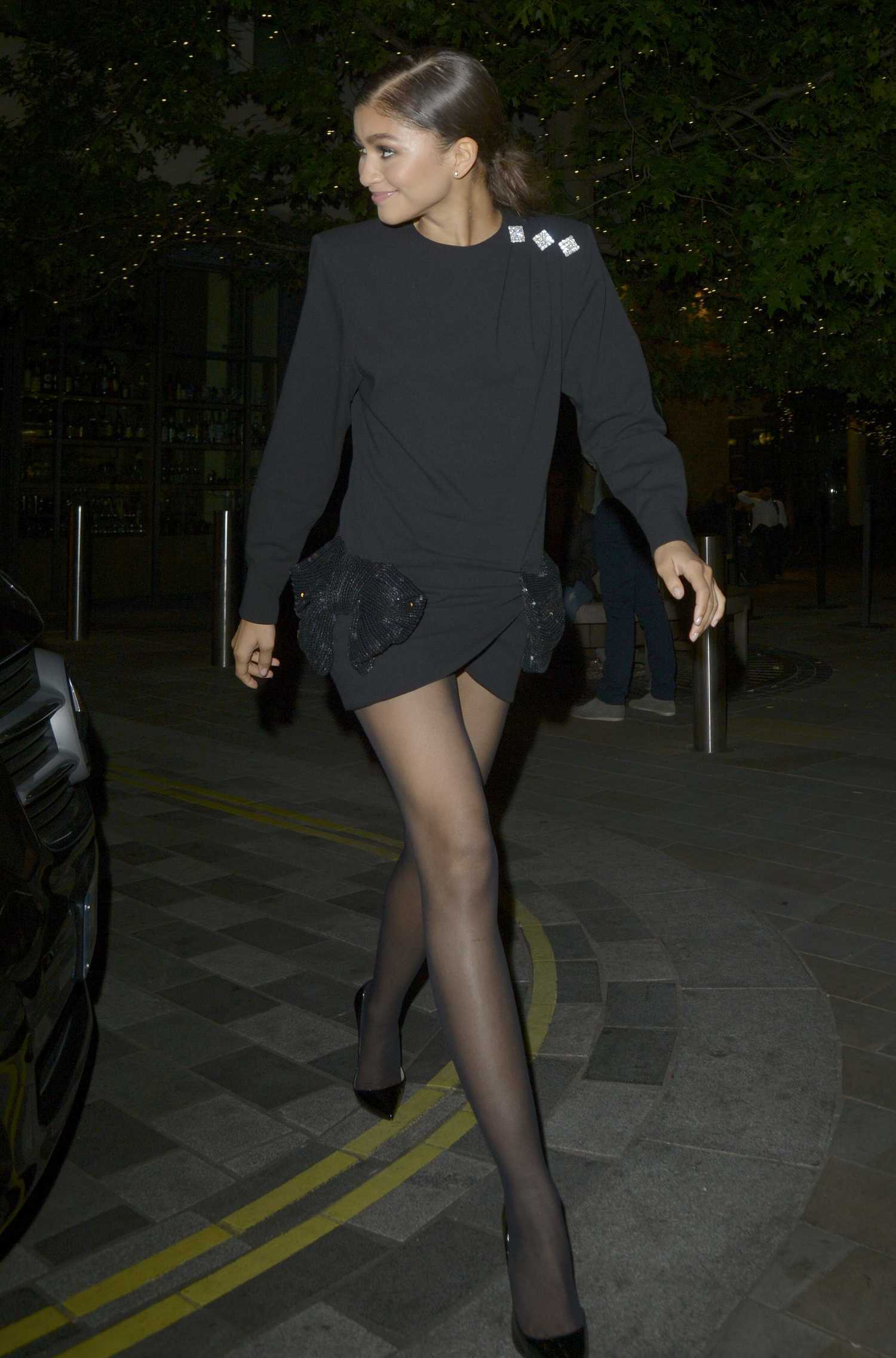 Zendaya In A Black Dress Leaves Annabel S Members Club In