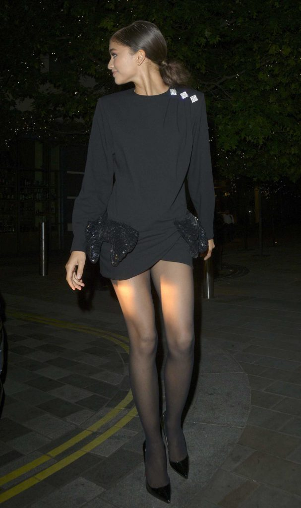 Zendaya in a Black Dress Leaves Annabels Members Club in