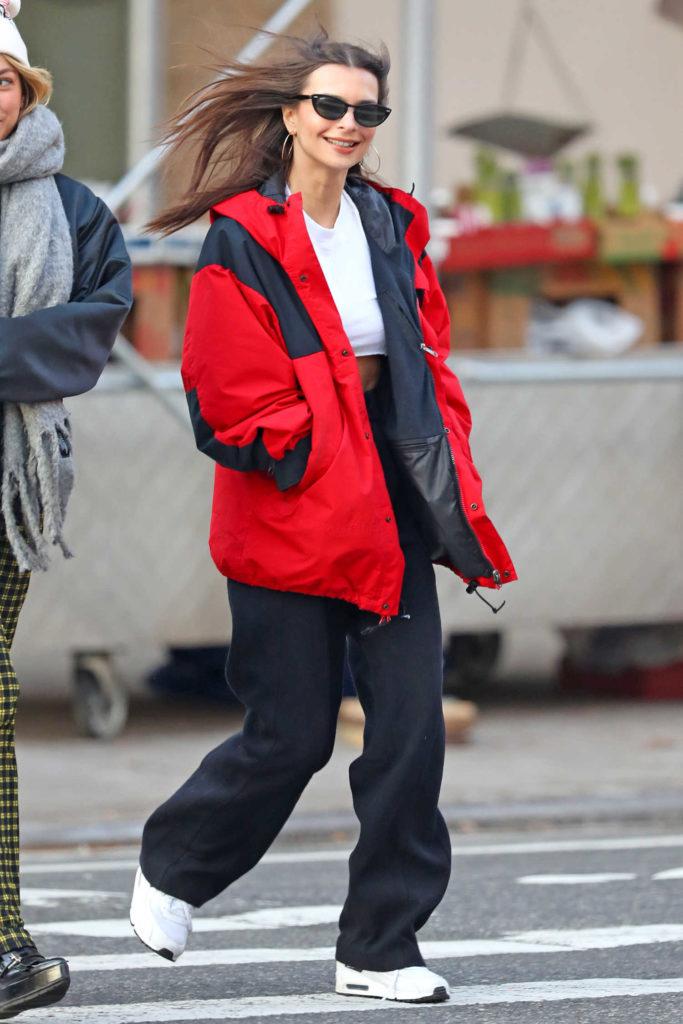 Emily Ratajkowski in a Red Windbreaker