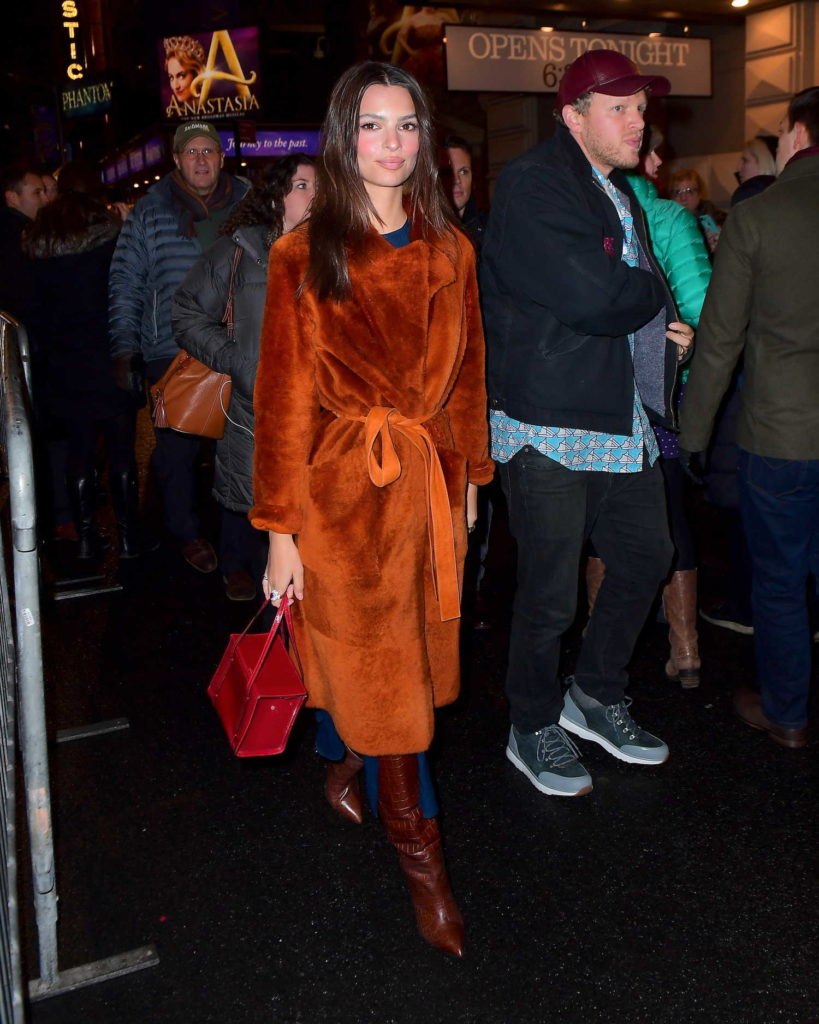 Emily Ratajkowski in an Orange Fur Coat