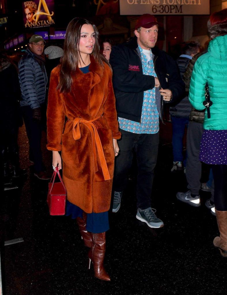 Emily Ratajkowski in an Orange Fur Coat