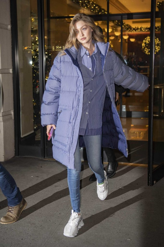 Gigi Hadid in a Gray Striped Puffer Jacket