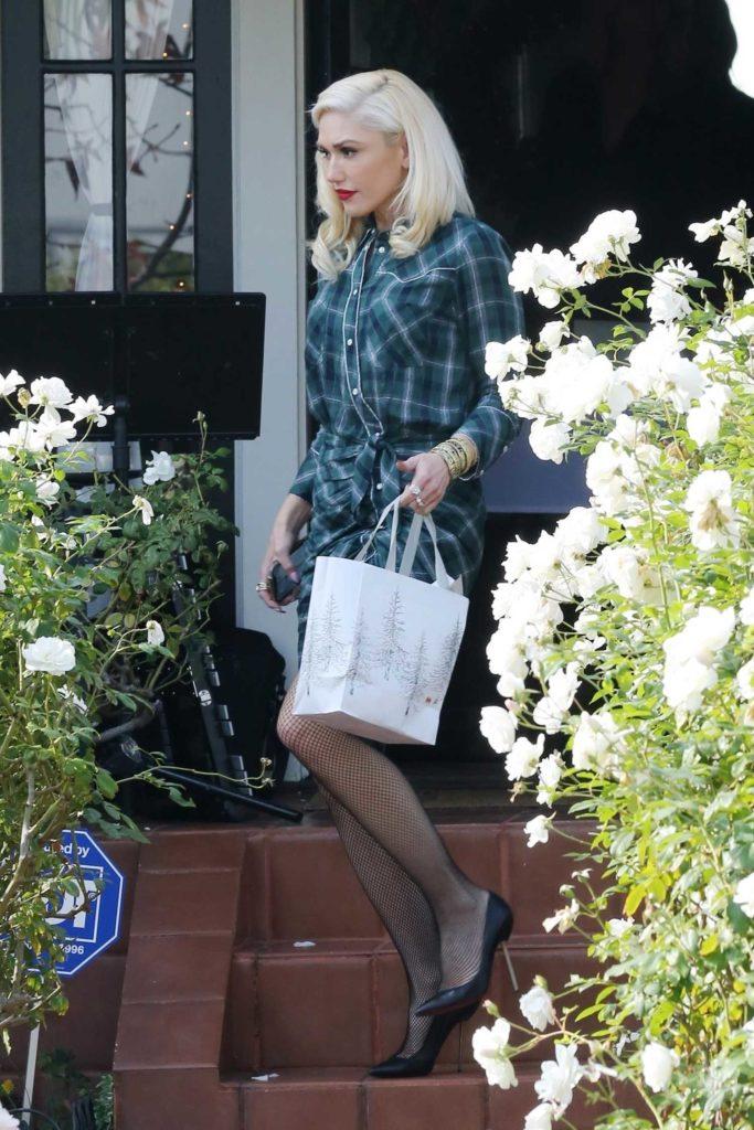 Gwen Stefani in a Green Plaid Dress