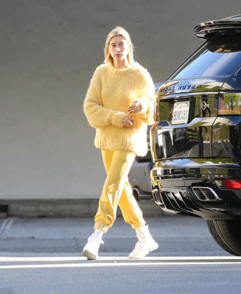 Hailey Baldwin in a Yellow Sweater