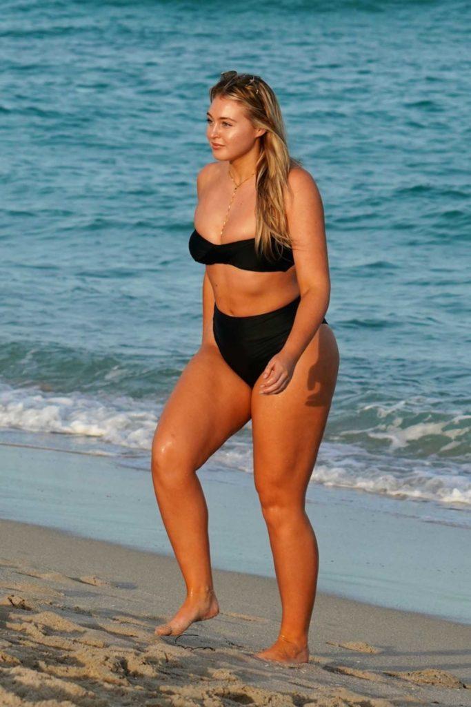 Iskra Lawrence in a Black Bikini