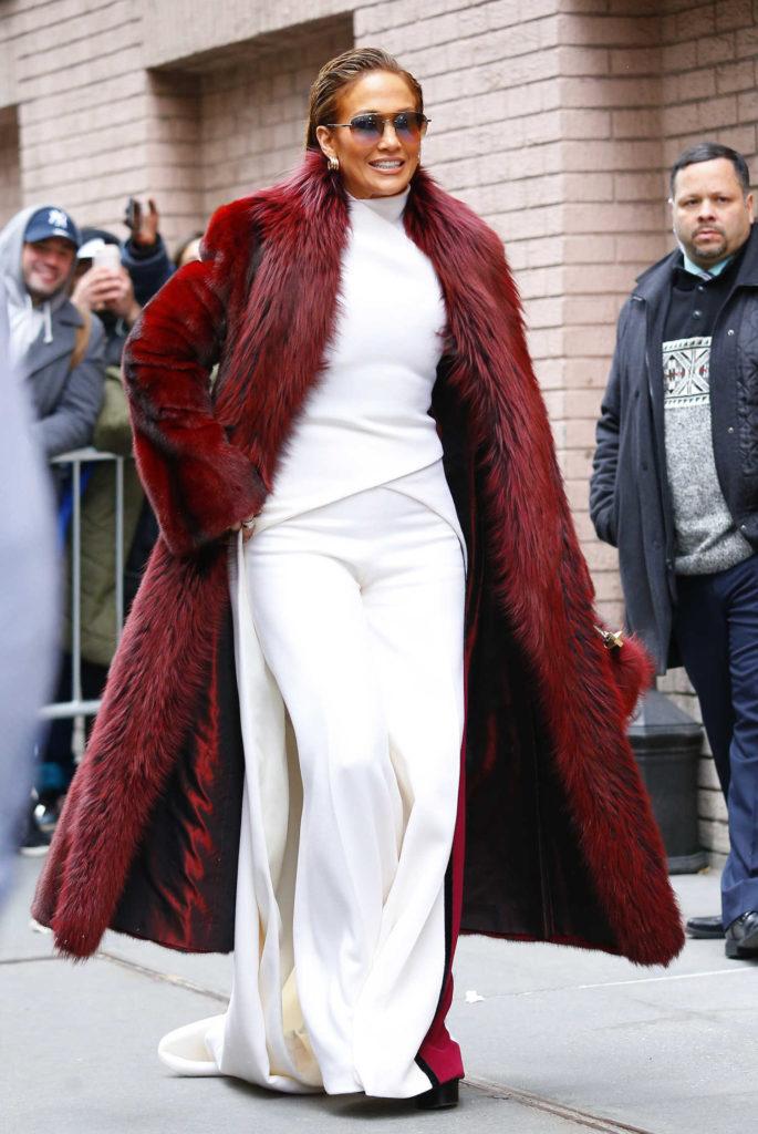 Jennifer Lopez in a Long Red Fur Coat
