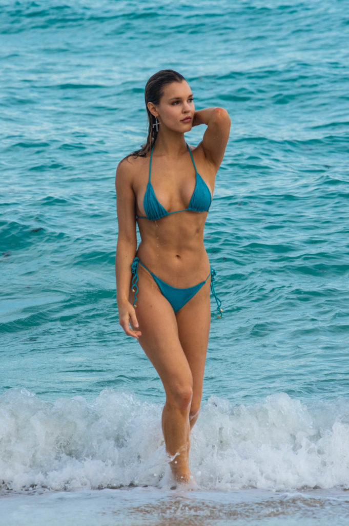 Joy Corrigan in a Blue Bikini