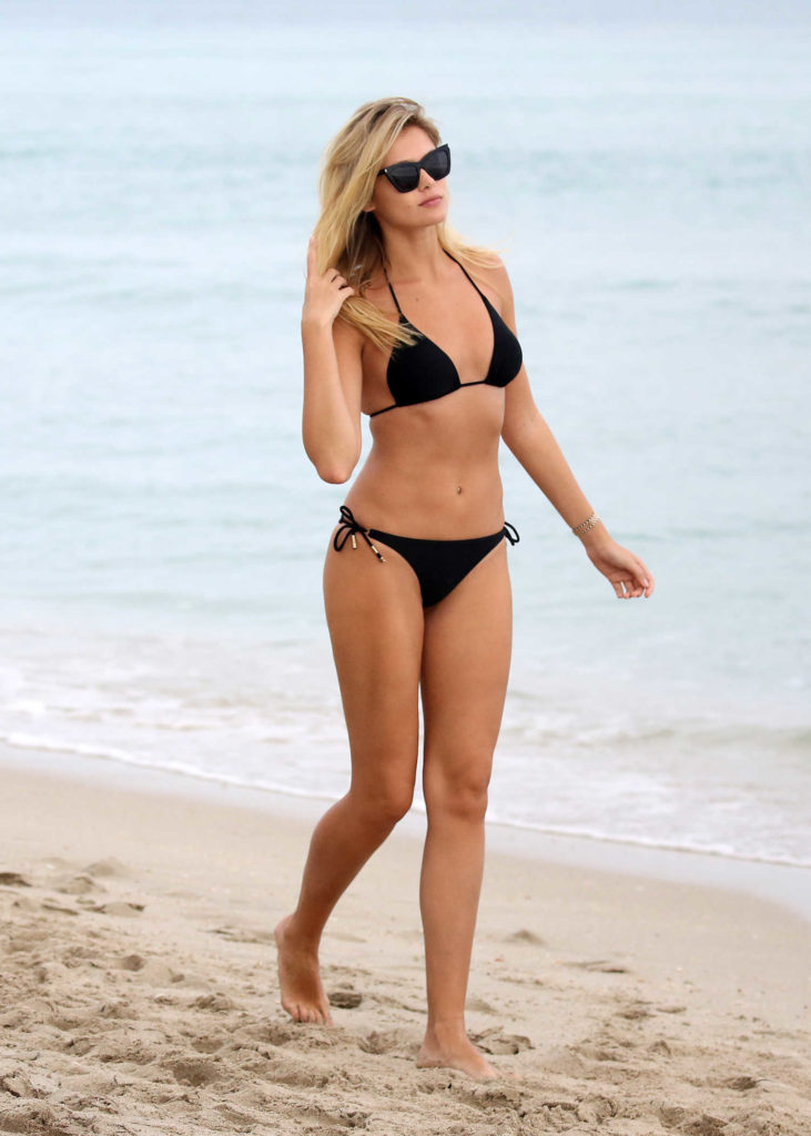 Lada Kravchenko in a Black Bikini
