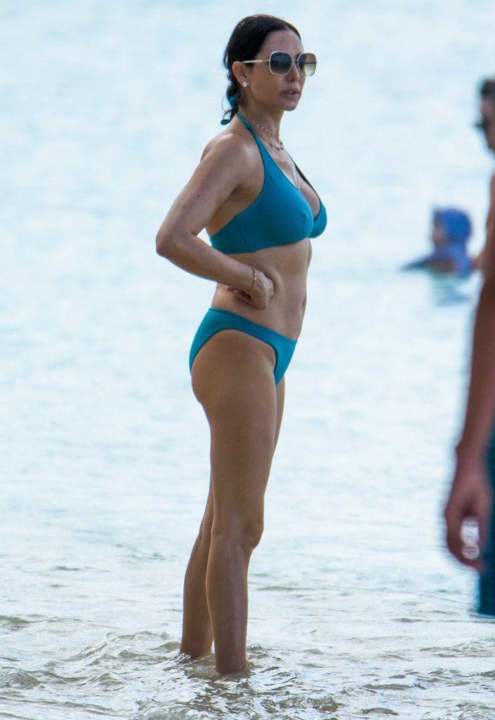 Lauren Silverman in a Blue Bikini