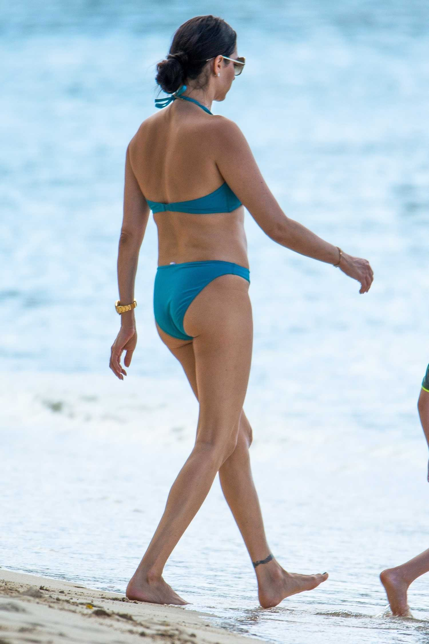 Lauren Silverman in a Blue Bikini on the Beach in Barbados ...